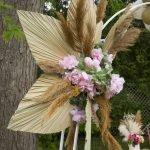 Montage floral Pampas et feuilles de palmier séché